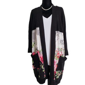 LAUREN MICHELLE Fancy Black Floral Long Cardigan L